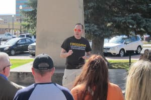 Jeran Artery of Wyoming Equality spoke to proponents of marriage equality during a rally in Casper on Wednesday. (Dustin Bleizeffer/WyoFile — click to enlarge)