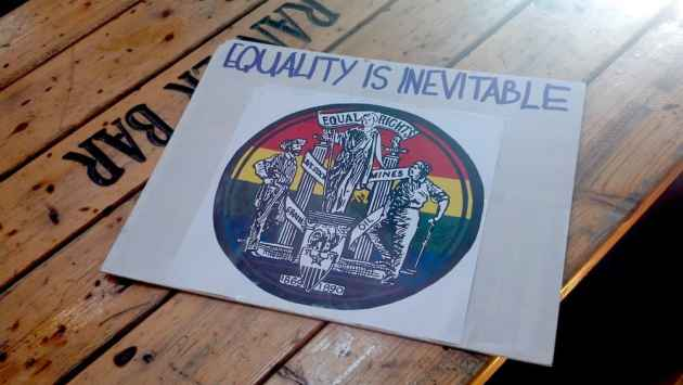 A sign used in a demonstration in Laramie, Wyoming last week, some 16 years after Matthew Shepard's death. (Photo courtesy Timothy Earl — click to enlarge)