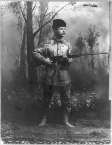 Theodore Roosevelt was a hunter, conservationist and one of the architects of the North American Model of Wildlife Conservation. That doctrine  credits hunters for wildlife health because of their financial contributions to game management through the purchase of hunting licenses. As the non-hunting public contributes more to state wildlife agencies, it is asking for a larger role in decision making. (Library of Congress - click to enlarge)