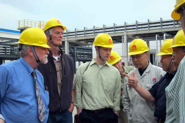 Caption: Rep. John Freeman (D-Green River) (left), David Wendt of the Jackson Hole Center for Global Affairs, and Rep. Tim Stubson (R-Casper). They were among a Wyoming delegation that visited the Yanchang Coal and Petroleum Chemical Industry Park in Shaanxi Province in June. (Dustin Bleizeffer/WyoFile — click to enlarge
