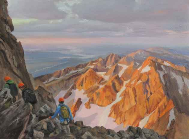 Joe Arnold captured climbers with Exum Mountain Guides ascending the Grand Teton. Arnold uses photographs and studies he creates in the mountains to paint in his studio. (Joe Arnold — click to enlarge)