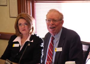 Labor Committee chairman Sen. Charlie Scott (R-Casper) and House Labor chairwoman Rep. Elaine Harvey (R-Lovell). Scott disagrees with a fiscal note showing his Medicaid expansion plan would cost up to $30 million a year in state funds. (WyoFile/Gregory Nickerson)