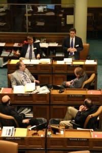 Senators listen to Sen. Phil Nicholas (R-Laramie) during debate. (Gregory Nickerson/WyoFile)