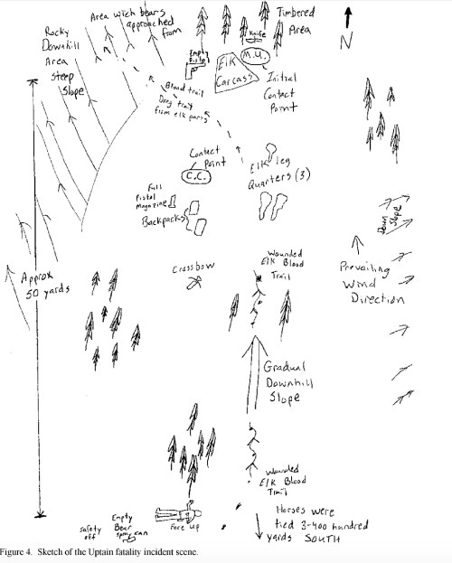 small resolution of a diagram of the attack site lays out the location of the guide hunter and equipment wyoming game and fish department