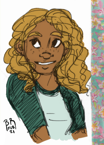 Portrait shot of Raye smiling and looking off to the side. Her hair is loose around her shoulders. She's wearing a baseball tee. There's a strip of decorative floral print washi tape along the right side of the image.