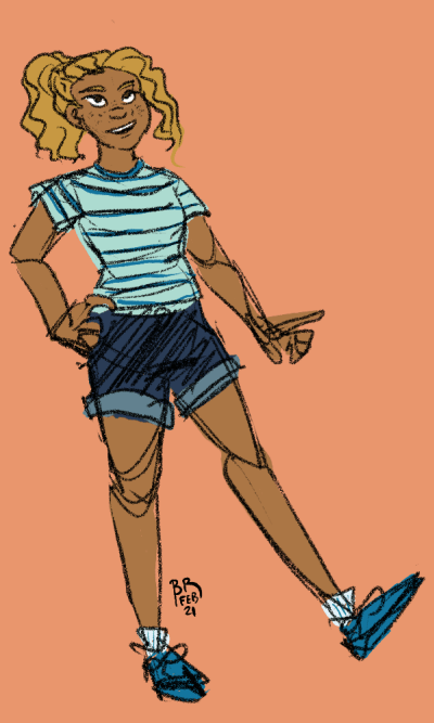 A full body sketch of Raye posing with a hand on her hip and one foot kicked out. Her hair is pulled back into a high ponytail.