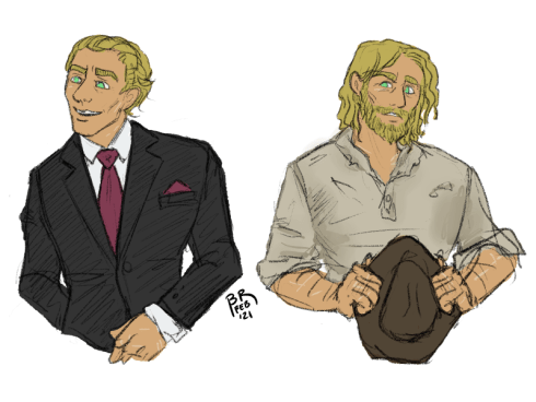 Two half body color sketches of Sam. On the left, he's dressed in a suit, wears his hair slicked back, and is clean shaven. On the right, his hair is longer and worn loose, he has a scraggly beard, and holds a beat up cattleman hat in his hands and wears a stained shirt.