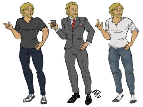 Three full body outfit designs for Sam. From left to right: One: Sam in a dark gray tee, dark wash jeans, and sneakers. Two: Sam in a gray suit, black dress shoes, and a red tie. He's holding a coffee cup. Three: Sam in an off-white long sleeved henley shirt, whiskered jeans, and socks.
