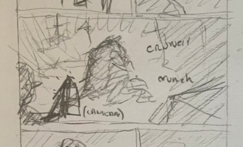 Close up of the focus panel of page 2. A creature huddles over something it's eating.