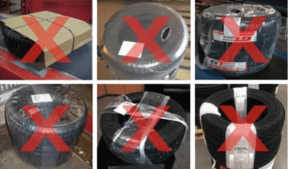 Przykłady nieprawidłowego pakowania opony