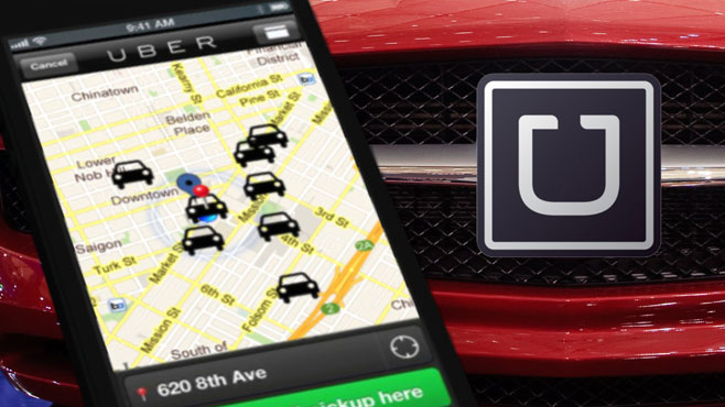 Uber Logo with car and cell phone_83628