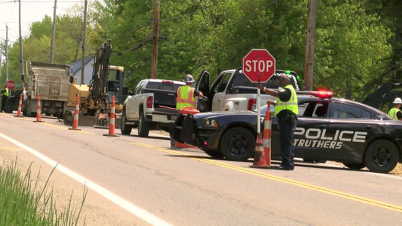 Struthers water main replacement along Route 616