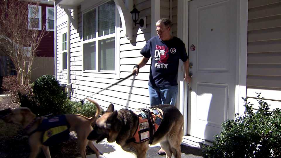Veteran Toby Yarbrough and his service dogs, Sasha and Duke