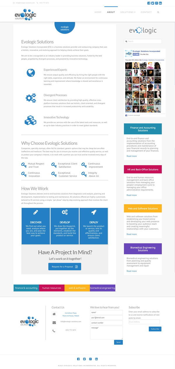 Evologic Solutions About Page