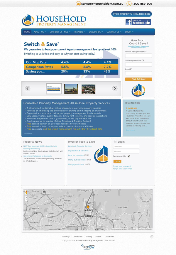 Online Portfolio for SEO Service - Household Property Management Homepage