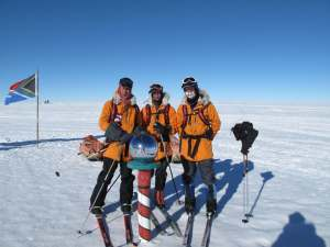 Larsen and his team reach the South Pole. Courtesy: Eric Larsen