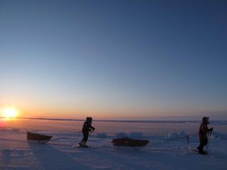 Larsen's crew trekking towards the North Pole. Courtesy: Eric Larsen