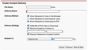 Options available when configuring a Content Delivery