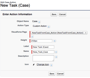 Editing the Case Action - specify a height for the frame and choose an icon (from a static resource) if desired.