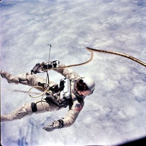 Ed White on his historic EVA during Gemini 4.