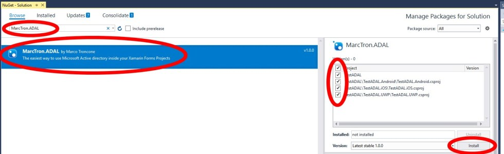 Authentication with MTADAL Nuget package