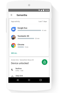 Google Family Link App screen time monitor