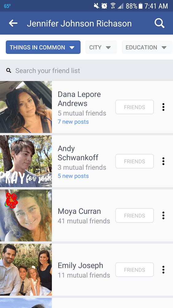 Facebook Friends section material design change - Xanjero