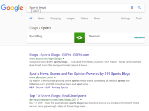 Google blog search results sports blogs