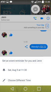 Facebook Messenger M virtual assistant planner set reminder