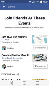 Facebook events notification landing page