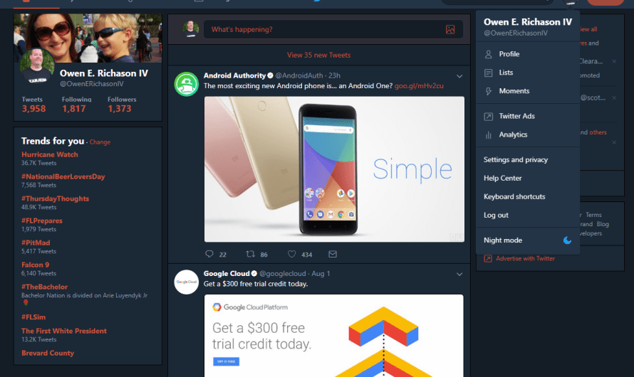 Desktop Twitter Night Mode Rolling Out to All Users