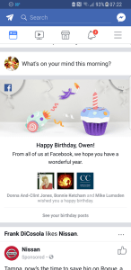 Facebook birthday greeting