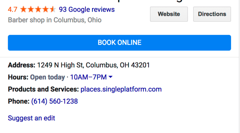 Google My Business booking button