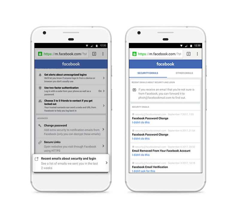 new Facebook email security