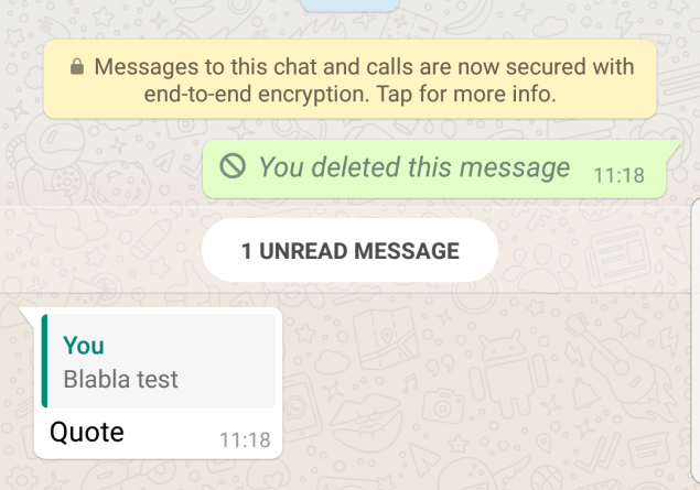 WhatsApp quoted messages