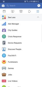 Facebook main navigation menu See Less