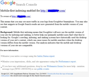 google-mobile-first-indexing-notification screenshot