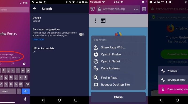 Mozilla Firefox Focus browser redesign search suggestions