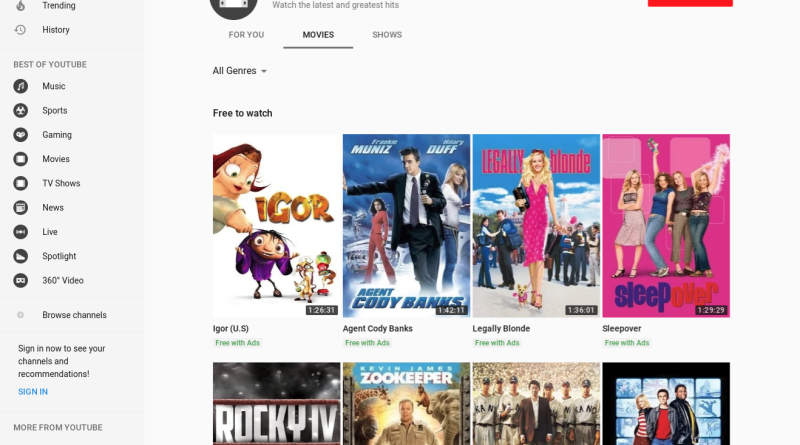 YouTube ad-supported free movies