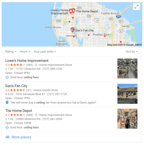 Google Local Pack Sold Here label screenshot