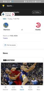 Google app pin to see live score 1