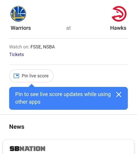 The Google App Now lets Users follow Games with an Over-App, Live Score Floating Pin