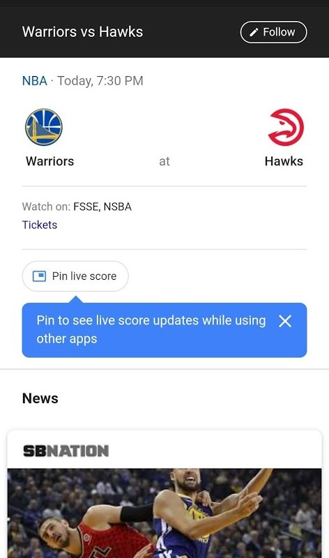 Google app pin to see live score expands