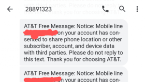 AT&T third-party location data sharing message