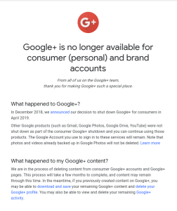 Google Plus shutdown announcement screenshot