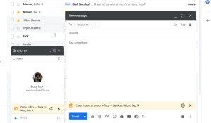 gmail out of the office notification