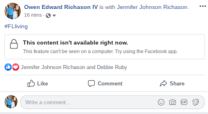2019 Facebook Year in Review web error message