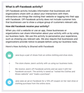 off Facebook activity explanation screenshot