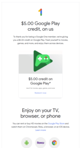 Google One 5 dollar Google Play voucher