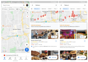Google Maps takeout and delivery